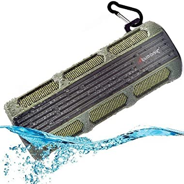 Waterproof Bluetooth Speaker, Alpatronix® [AX410: Heavy-Duty & Rugged] Ultra Portable Wireless 12-Watt Stereo Speaker with Shockproof, Dustproof, Splashproof, Water-Resistant Features includes Bluetooth 4.1, Built-In 3000mAh Rechargeable Battery, Enhanced Super BASS with Subwoofer, Built-In Microphone, Speakerphone & Playback Controls [Compatible w/ iPod, iPad, iPhone, Android Devices, Smartphones, Laptops & Desktop PC / Carabiner Included, Fits Easily in Bicycle Water Bottle Cages] - (Green)