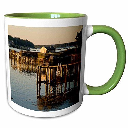 3dRose Danita Delimont - Harbors - Harbor at Bernard, Maine, Acadia National Park - US20 RSP0012 - Rob Sheppard - 11oz Two-Tone Green Mug - National Outlets At Harbor