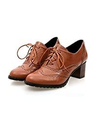 Inornever Brogue Shoe Womens Classic Sweet Mid Heel Lace Up Carving PU Brogue Wingtip Oxfords Leather Shoes