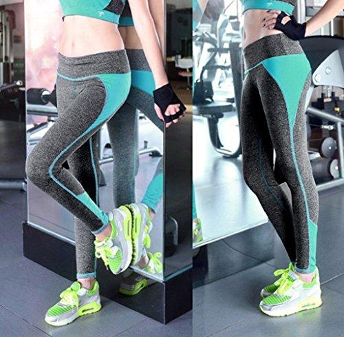 Tongshi Las mujeres de cintura alta deportes pantalones Legging entrenamiento deporte Fitness correr Legging Verde
