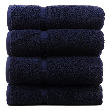 Luxury Hotel & Spa Bath Towel 100% Genuine Turkish Cotton, Set of 4 (Navy Blue)