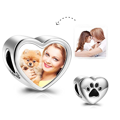 LONAGO Customized Personalized Paw Prints Heart Photo Charms Sterling Silver Charms Beads (Cat Dog Paw Prints)