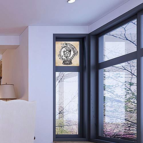 Ball Mickey Crystal - YOLIYANA Stained Glass Window Film,Occult Decor,for Bathroom Shower Door Heat Cotrol Anti UV,Illustration of Medium Crystal Ball for Mystery Future,17''x24''