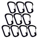 D Shaped Aluminum Alloy Carabiner,10 Pack Hook Keychain Snap Key Chain Clips Buckle Aluminum Camping Carabiner Keychain D Shape Fast Hang Mini Buckle Hook Clip,Random Color