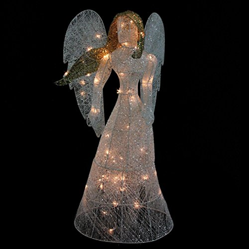 48 led lighted white glitter angel christmas yard art decoration warm white lights