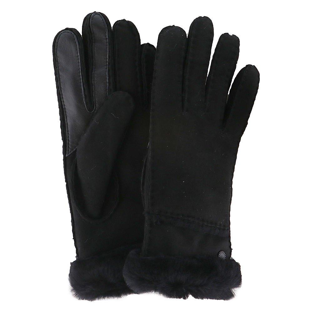 UGG Women's Exposed Waterproof Sheepskin Tech Gloves with Slim Pile Black MD
