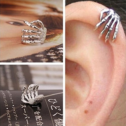 Chic Skeleton Hand Ear Cuff Silver Plated Ear Bone Personality Clip Earring
