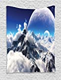 Fantasy House Decor Tapestry Wall Hanging By Ambesonne, Celestial View Of Snow Capped Mountains And A Transparent Alien Planet, Bedroom Living Room Dorm Decor, 60Wx80L Inches, White Navyblue