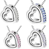 Doinshop New Useful Cute Nice Double Heart Crystal Rhinestone Eternal Love Silver Necklace