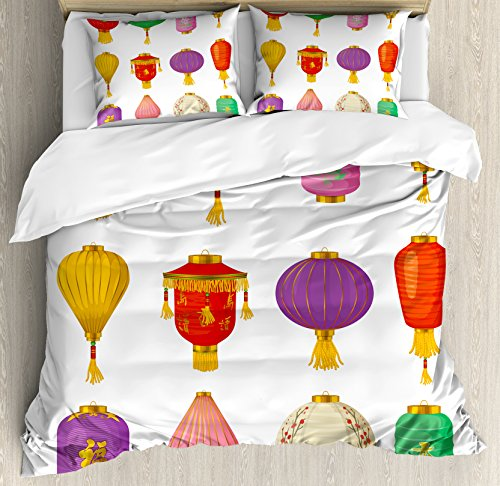 Fabric Tassel Set (Ambesonne Lantern Duvet Cover Set Queen Size, Chinese Celebration Asian Culture Far East New Year Cartoon Style Festival Tassels, Decorative 3 Piece Bedding Set with 2 Pillow Shams, Multicolor)