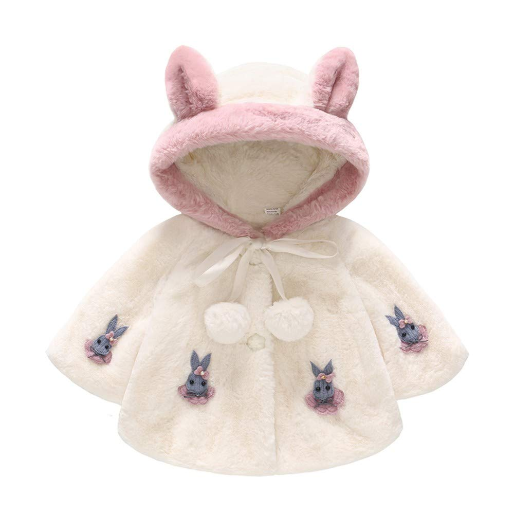 Baby Girl Rabbit Long Sleeve Fur Cloak Outerwear Pompom Winter Warm Clothes Ear Hooded Jacket 1-3 Years Old Infant Baby Bowknot Outfits Snowsuit