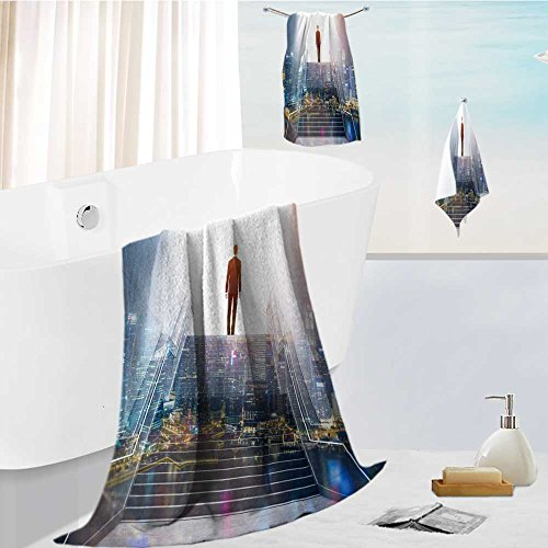 SOCOMIMI Ultra Soft Bathroom Towels Set rear view of a businessman climbing stairs to get to a large city center concept of success and 1 Shower Towel 1 Hand Towel and 1 Face Towel