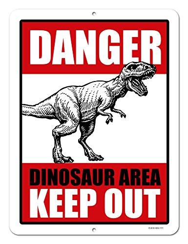 Honey Dew Gifts Dinosaur Decor, Danger Dinosaur Area Keep Out, 9 x 12 inch Metal Aluminum Novelty Tin Sign Decor