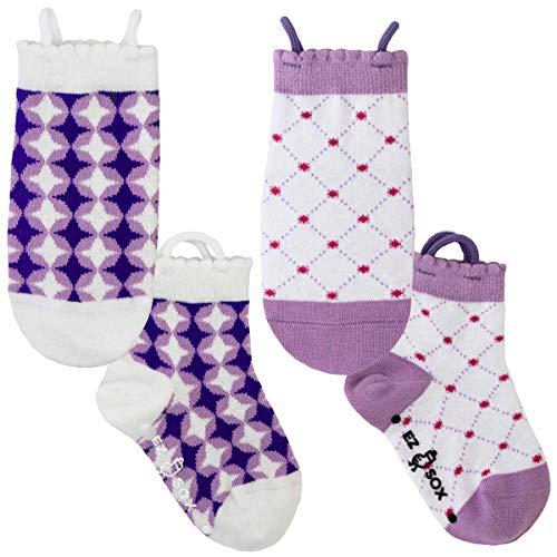 Ez Sox Girls Toddler Socks Seamless Toe, Non Skid Grip, Pull Up Loops, 2 Pairs (5-9 years, Stars-Diamonds) ()