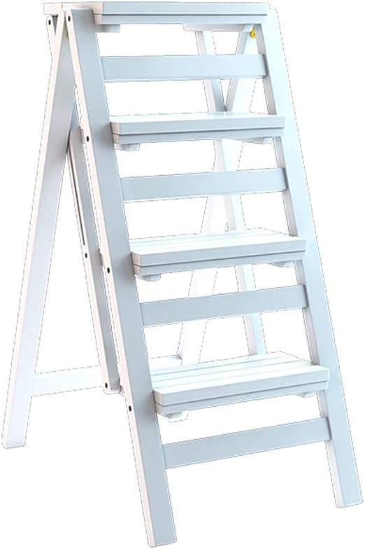 Escalera de 4 peldaños - Taburete de Madera Maciza Taburete Plegable Multifuncional Silla de Escalera de Biblioteca Cocina, el baño, el Dormitorio y más Carga máxima de 150 kg - Bla: Amazon.es: Hogar