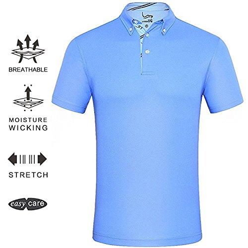 EAGEGOF Men's Shirts Sky Blue Short Sleeve Tech Performance Golf Polo Shirt Loose Fit Medium (Polo Shirt Golf Polyester)