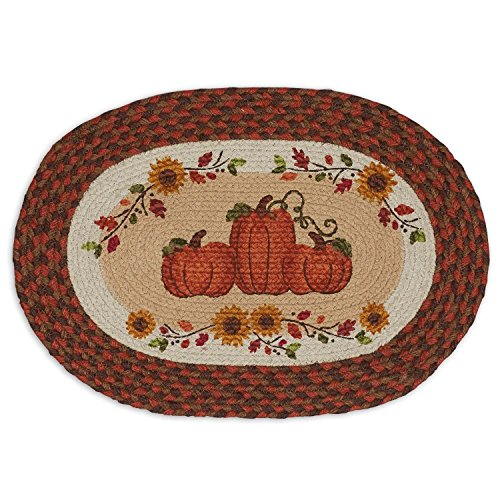 DII Braided Jute/Burlap Placemat, Set of 4, Country Pumpkins - Perfect for Fall, Thanksgiving, Friendsgiving, Dinner Parties, Catering and Special Occasions (Country Place)