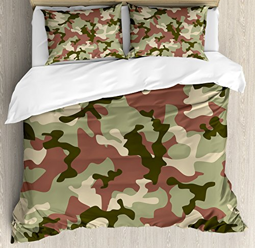 - Ambesonne Camo Duvet Cover Set, Illustrated Green Camouflage in Forest Colors Hunter Combat, 3 Piece Bedding Set with Pillow Shams, Queen/Full, Dried Rose Dark Green Army Green