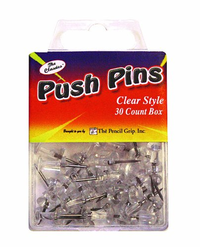 Pencil Grip The Classics Push Pins, Clear Style, 30 Count Box (TPG-225) The Pencil Grip Inc.