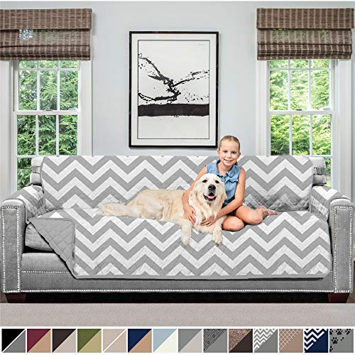 SOFA SHIELD Original Patent Pending Reversible Oversize Sofa Slipcover, 2 Inch Strap Hook, Seat Width Up to 78 Inch Washable Furniture Protector, Couch Slip Cover for Pets, Oversize Sofa, Chevron Gray (Classy Sofa)