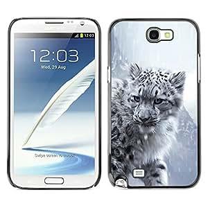 TopCaseStore / la caja del caucho duro de la cubierta de protección de la piel - Majestic Snow Panther Tiger Lion - Samsung Galaxy Note 2 N7100
