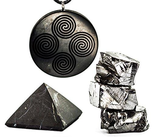 Wallystone Gems Shungite Set Unpolished Pyramid with Amazing Engraved Pendant and Elite Shungite Stones. Protective gift set.