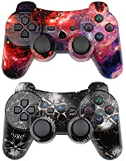 CHENGDAO Wireless Controller 2 Pack Compatible with Playstation 3 with Charging Cord (Skull + Galaxy)