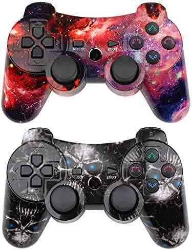 CHENGDAO PS3 Controller Wireless 2 Pack Double Shock Gamepad for Playstation 3 Remote, Sixaxis Wireless PS3 Controller with Charging Cable (Skull + Galaxy)