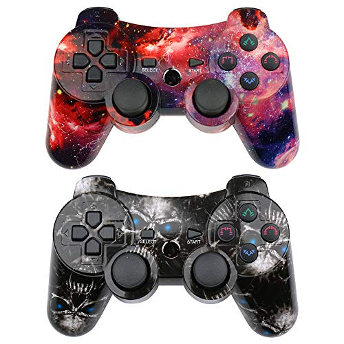 (CHENGDAO PS3 Controller Wireless 2 Pack Double Shock Gamepad for Playstation 3 Remote,Six-axis Wireless PS3 Controller with Charging Cable (Skull + Galaxy))