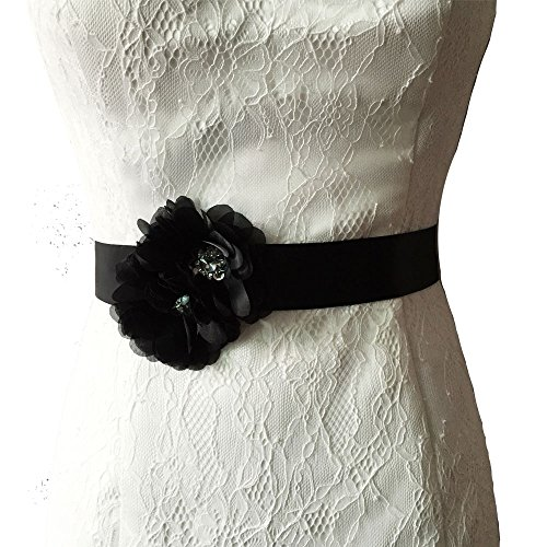 Satin Black Belt (Azaleas Women's Flower Bridal Bridesmaid Dresses Sash Belts Black One)