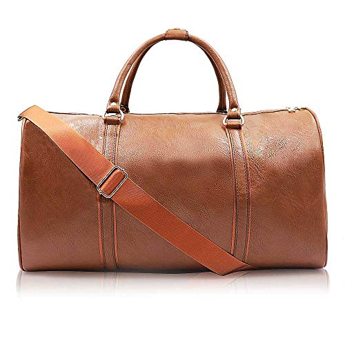Weekend Travel Leather Bag Overnight Duffel Waterproof Bags Tote Carryon Luggage Gym Bag for Men&Women(Brown)