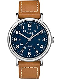 Timex Men's Casual Weekender 40mm TW2R42500GP Blue Dial and Tan Leather Band Watch