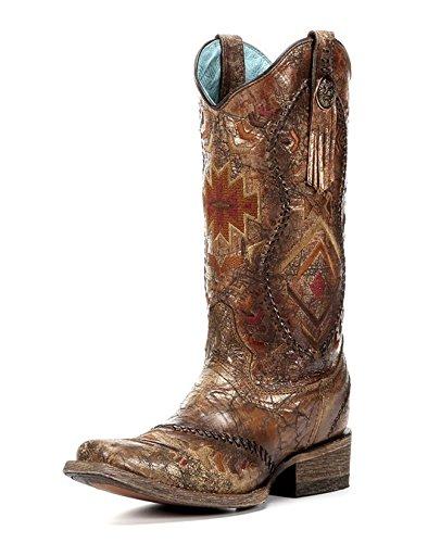 Women's Cognac Ethnic Pattern Boot