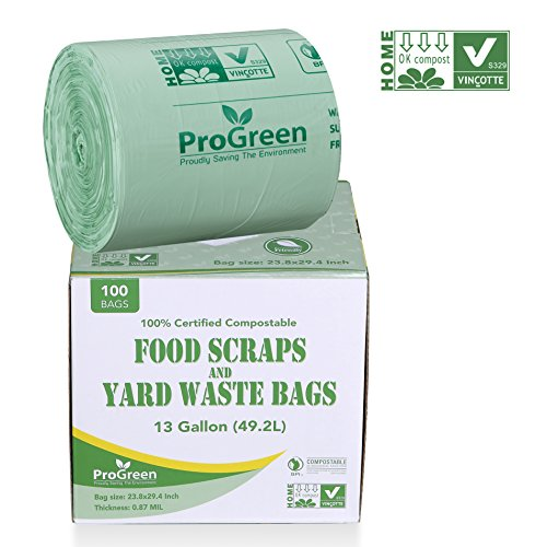 ProGreen 100% Compostable Bags 13 Gallon, Extra Thick 0.87 Mil, 100 Count, Small Kitchen Trash Bags, Food Scraps Yard Waste Bags, Biodegradable ASTM D6400 BPI And VINCOTTE Certified ()