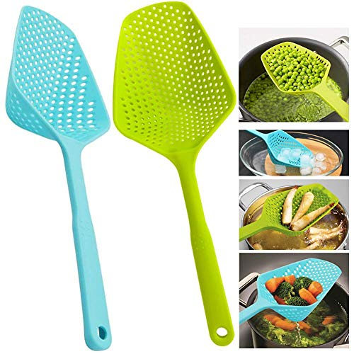 (Scoop Colander Strainer Spoon - DILEECIS Kitchen Food Drain Shovel Strainers, Nylon Slotted Skimmer and Sifter Sieve with Handle for Cooking, Baking - 2 PIECES)