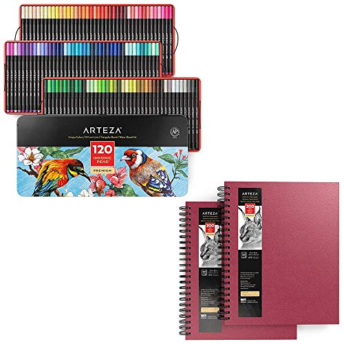 Arteza Fineliner Fine Point Pens and Pink Hardcover Drawing Pads Bundle