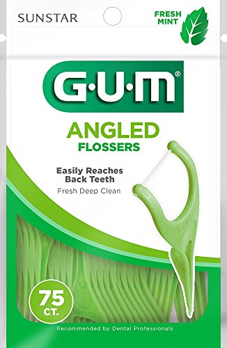 GUM Angled Flossers, Fresh Mint, 75 Count