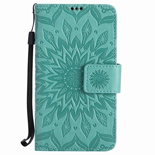 Yiizy Nokia Lumia 630 Custodia Cover, Sole Petali Design Sottile Flip Portafoglio PU Pelle Cuoio Copertura Shell Case Slot Schede Cavalletto Stile Libro Bumper Protettivo Borsa (Verde)