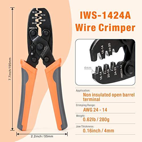 Iwiss de-dr-1 crimpadora alicates herramienta para abrir barril alemán Scotchlock (AWG22 – 10)