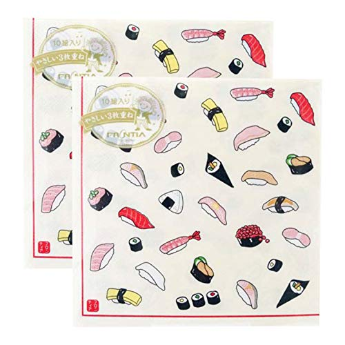 Sushi Dinner - Frontia Paper Napkins Kawaii Cute 13x13 20 Count 3-Ply Cocktail Decoupage Luncheon Disposable for Dinner Birthday Party Japan Import (Sushi)