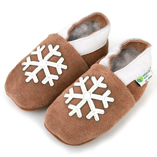 AUGUSTA BABY Baby Boys Girls First Walker Soft Sole Leather Baby Shoes - Genuine Leather Snowflake brown