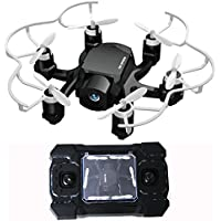 2.4GHz Six Gyro Foldable Drone FPV WIFI Real-Time Video Remote Controlled Rechargeable Mini Quadcopter Pocket Aircraft with HD Camera Spider(Black-FQ126)