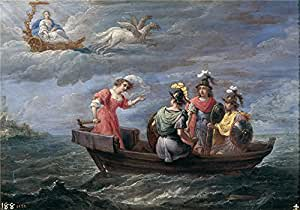 Perfect effect canvas ,the Best Price Art Decorative Prints on Canvas of oil painting 'Teniers David Reinaldo huye de las islas Afortunadas 1628 30 ', 8 x 11 inch / 20 x 29 cm is best for Bedroom decor and Home artwork and Gifts