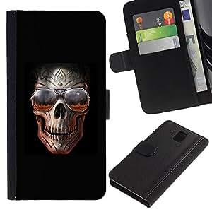 Be-Star la tarjeta de Crédito Slots PU Funda de cuero Monedero caso cubierta de piel Para Samsung Galaxy Note 3 III ( Skull Teal Purple Black Floral Crossbones )
