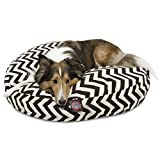 Black Chevron Medium Round Indoor Outdoor Pet Dog Bed With Removable Washable Cover By Majestic Pet Products