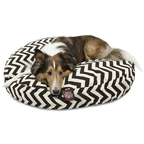 Black Chevron Medium Round Indoor Outdoor Pet Dog Bed With Removable Washable Cover By Majestic Pet Products by Majestic Pet