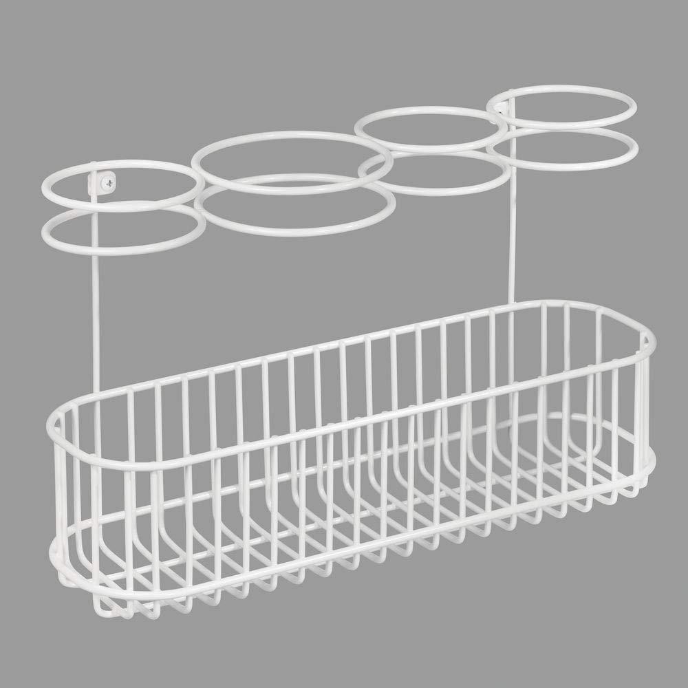mDesign Soporte de pared para secador de pelo Organizador de ba/ño para secador blanco Pr/áctico estante de ba/ño con 4 divisiones para art/ículos de peluquer/ía y 1 cesta plancha o rizador