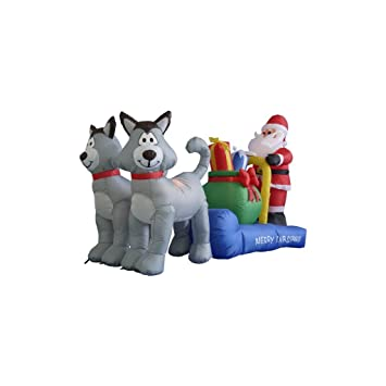 long husky sleigh with santa christmas decoration inflatable christmas decoration - Husky Christmas Decoration