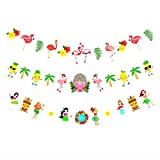 leiwoor 3 Pack Hawaiian Party Flamingo Pineapple Flower Hula Girl Banner Garland Decorations Happy Birthday Bachelorette Party Decor