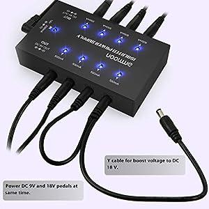 ammoon Alimentazione Elettrica per Pedali Effetto Chitarra con 8 Uscite DC Isolate Dimensioni Compatte per Pedali Effetto Chitarra 9V/18V